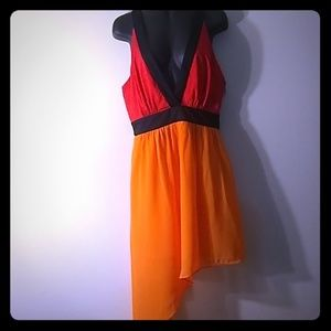 Bebe colorblock dress with v neck front